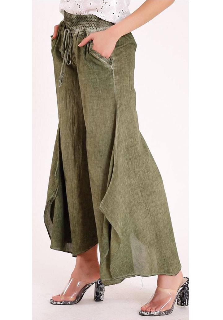 Dokuma keten dantel detay tasarım pantalon