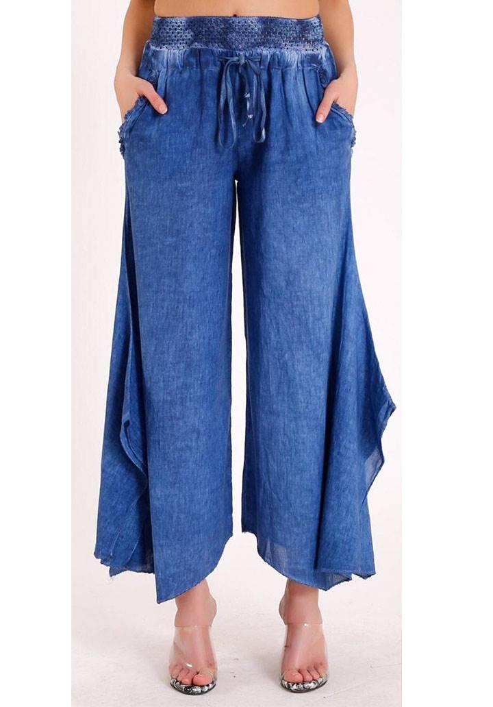 Dokuma keten dantel detay tasarım pantalon(mavi)