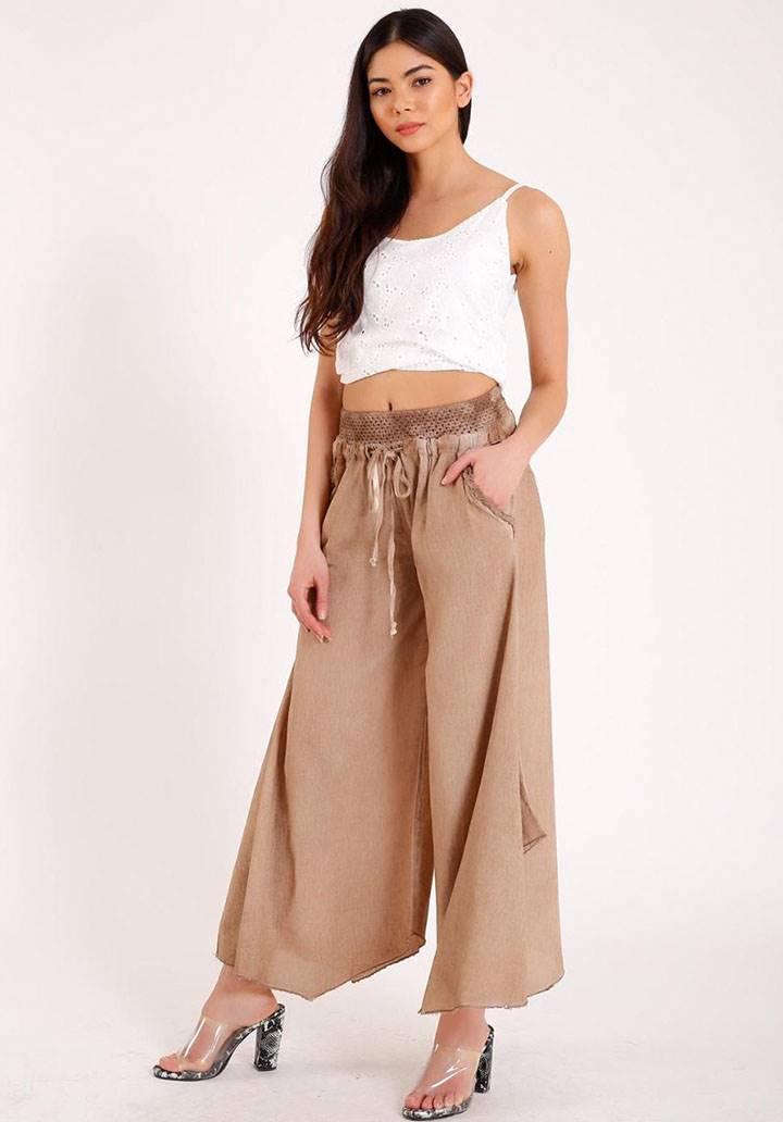 Dokuma keten dantel detay tasarım pantalon(camel)