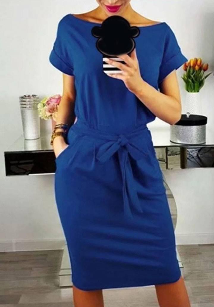 Cepli kuşaklı midiboy elbise(sax)