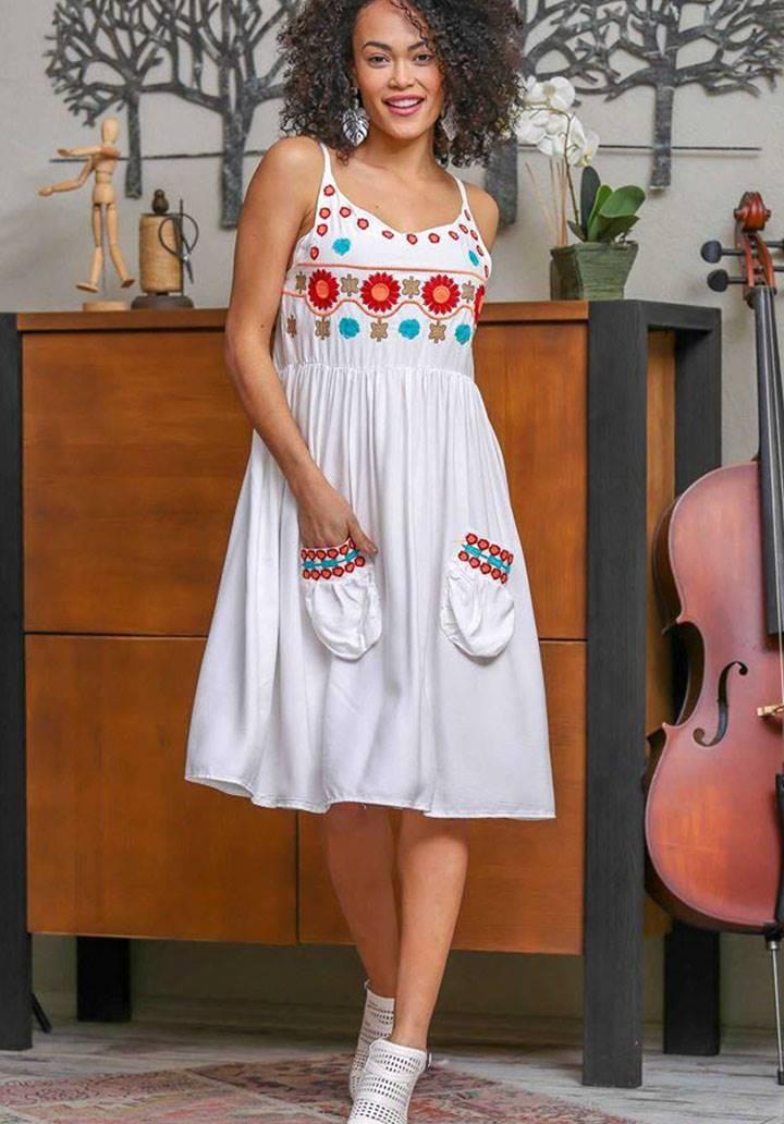 İp askılı cepli nakış işleme elbise