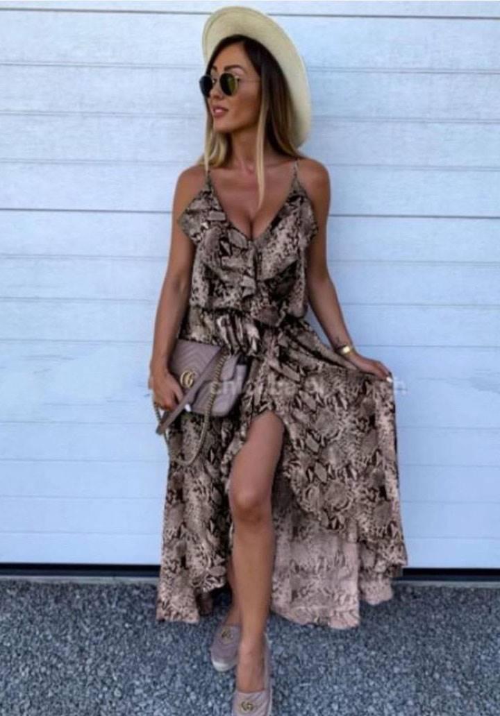 Yakası etek ucu volanlı ip askılı şifon elbise(vizon)