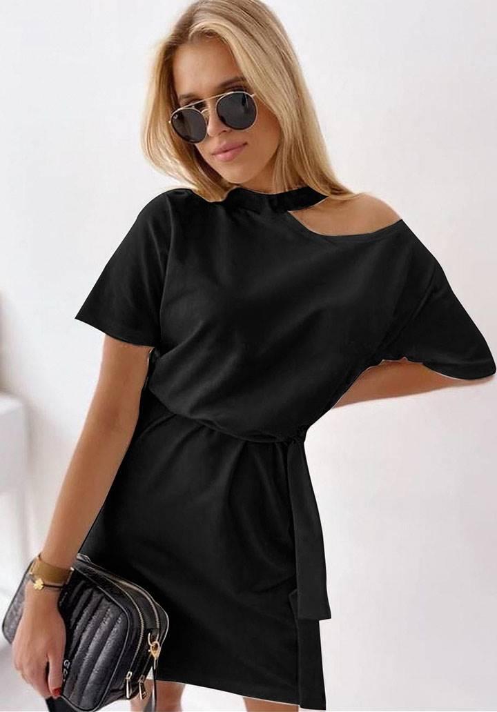 Tek omuz dekolteli tasarım elbise(siyah)