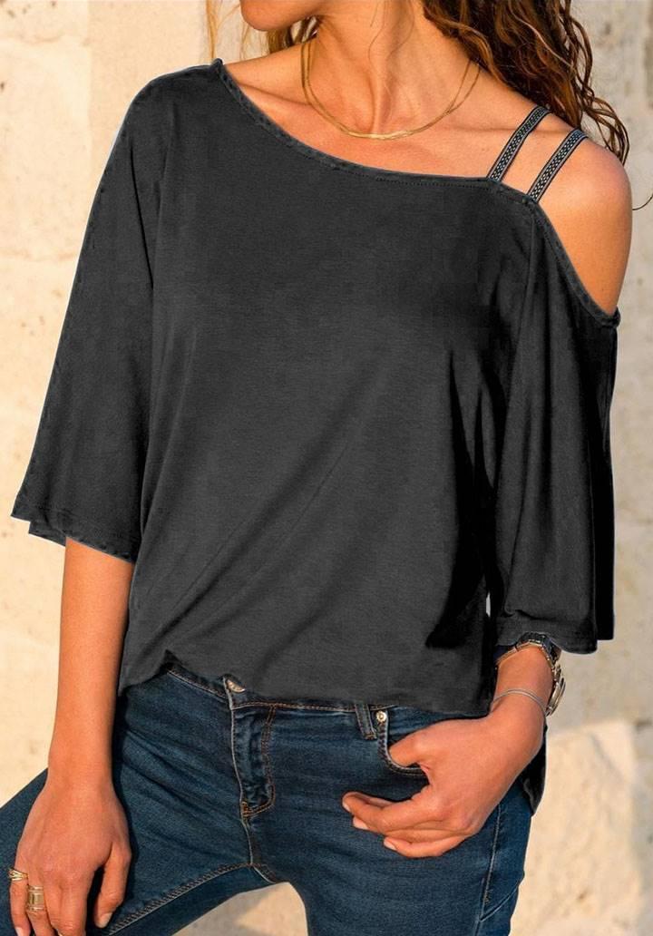 Çift askılı omuz dekolteli bluz(siyah)