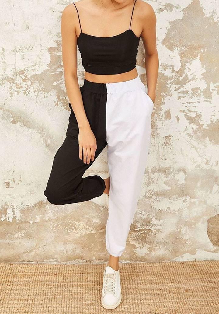 Siyah beyaz yüksek bel pantalon