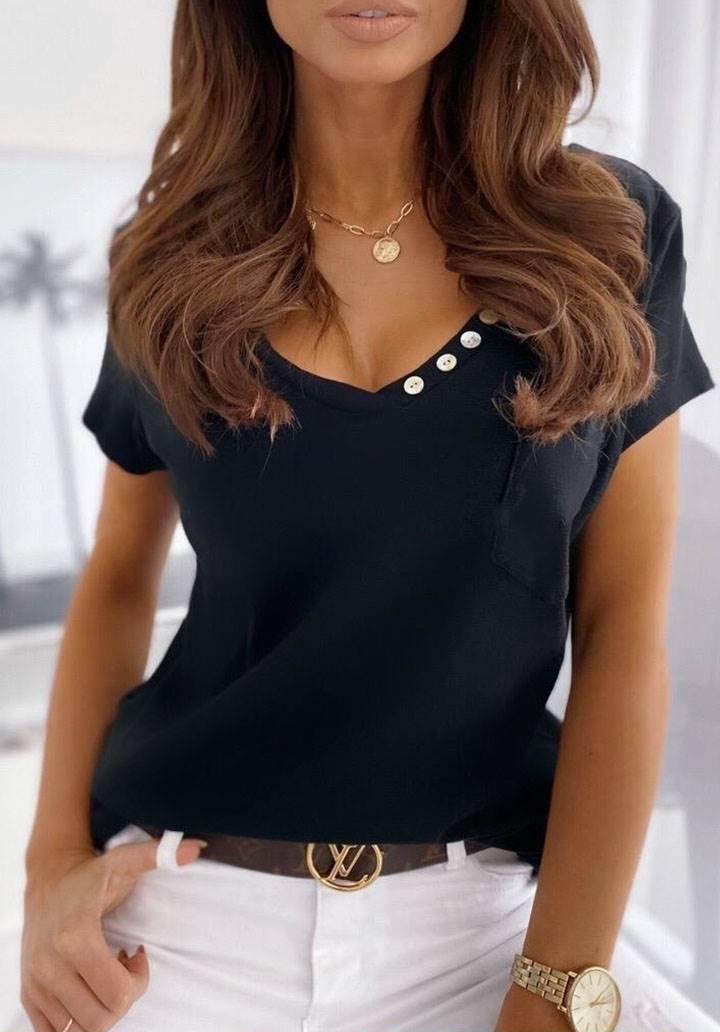 Cepli düğme detay V yaka tshirt(siyah)
