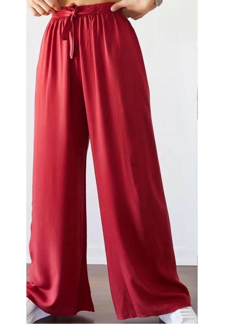Bordo beli lastikli salaş pantalon