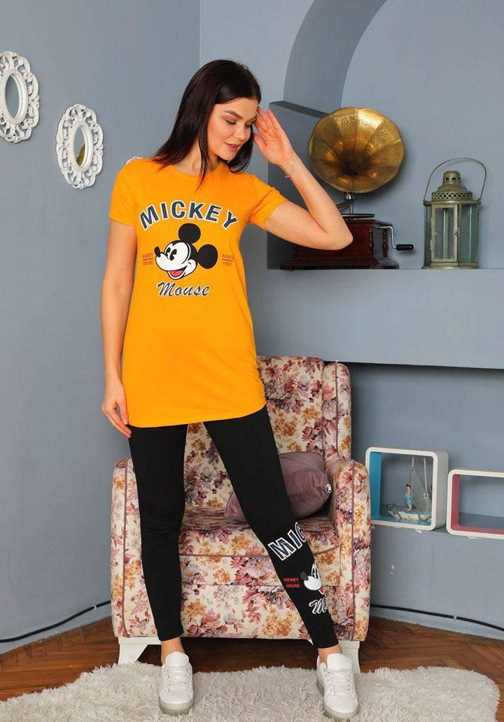 Mickey mouse taytlı ikili takım(hardal)