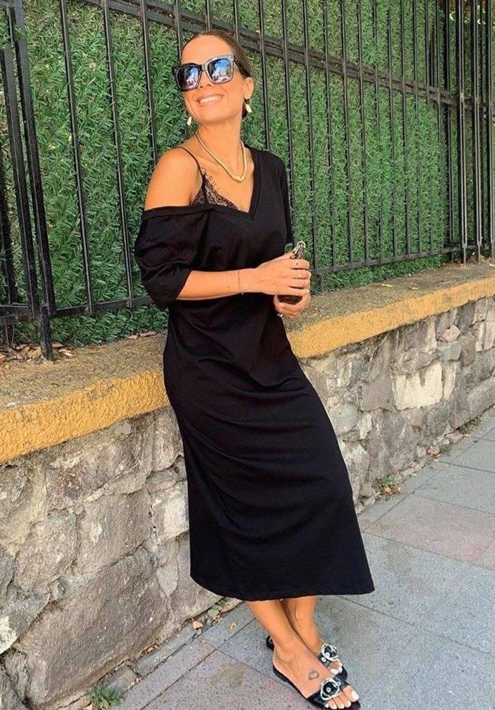 Omuz dantel detay elbise