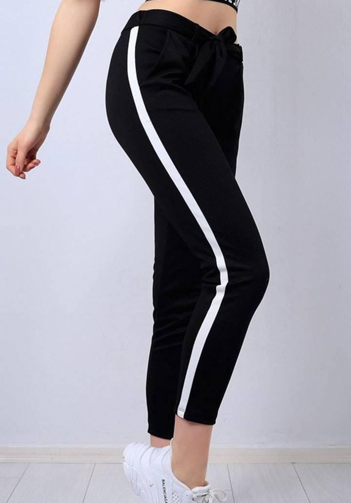 Şeritli cepli yeni sezon pantalon(siyah)