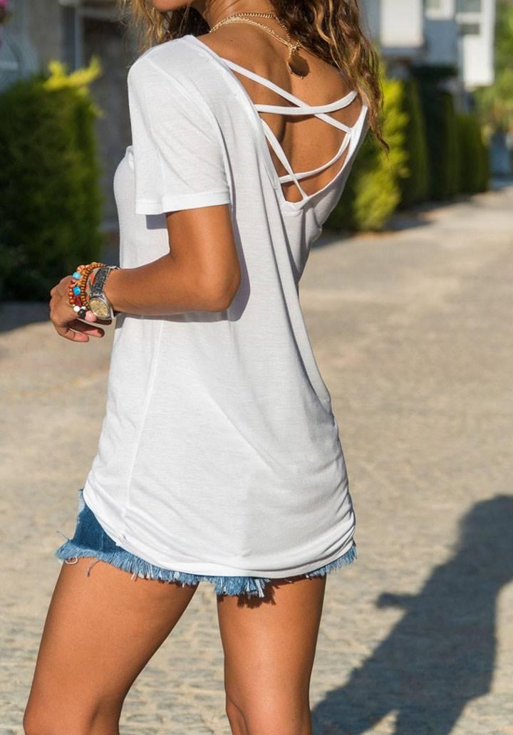 Beyaz sırt çapraz detay t-shirt