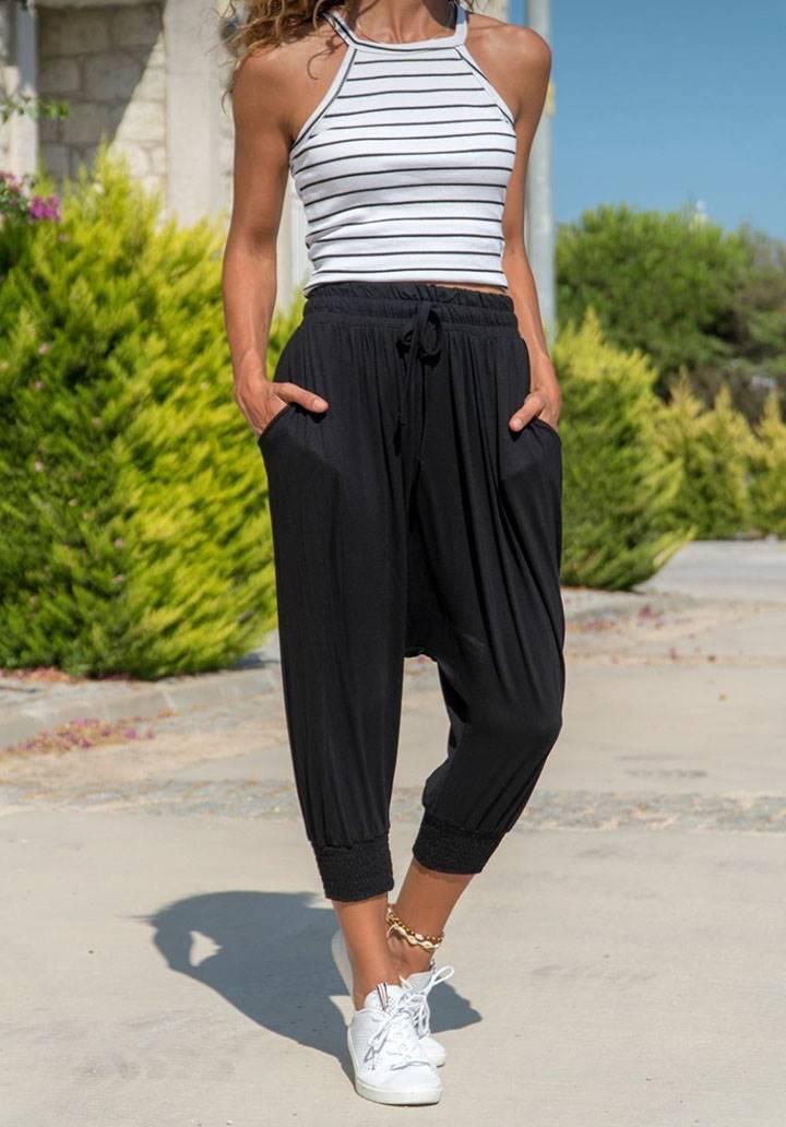 Siyah salaş beli lastikli şalvar pantalon