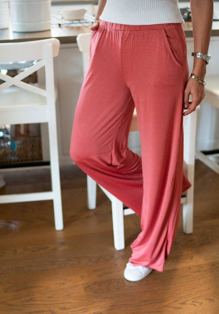 Mercan krep salaş pantalon