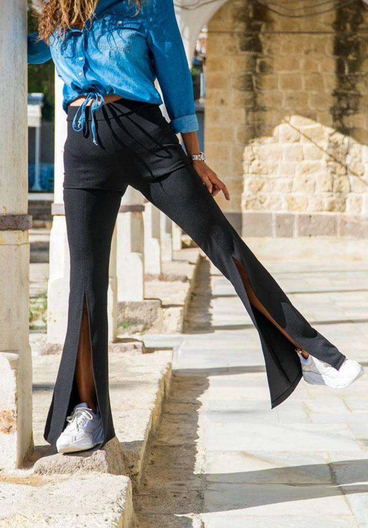 Siyah yırtmaçlı ispanyol paça pantalon