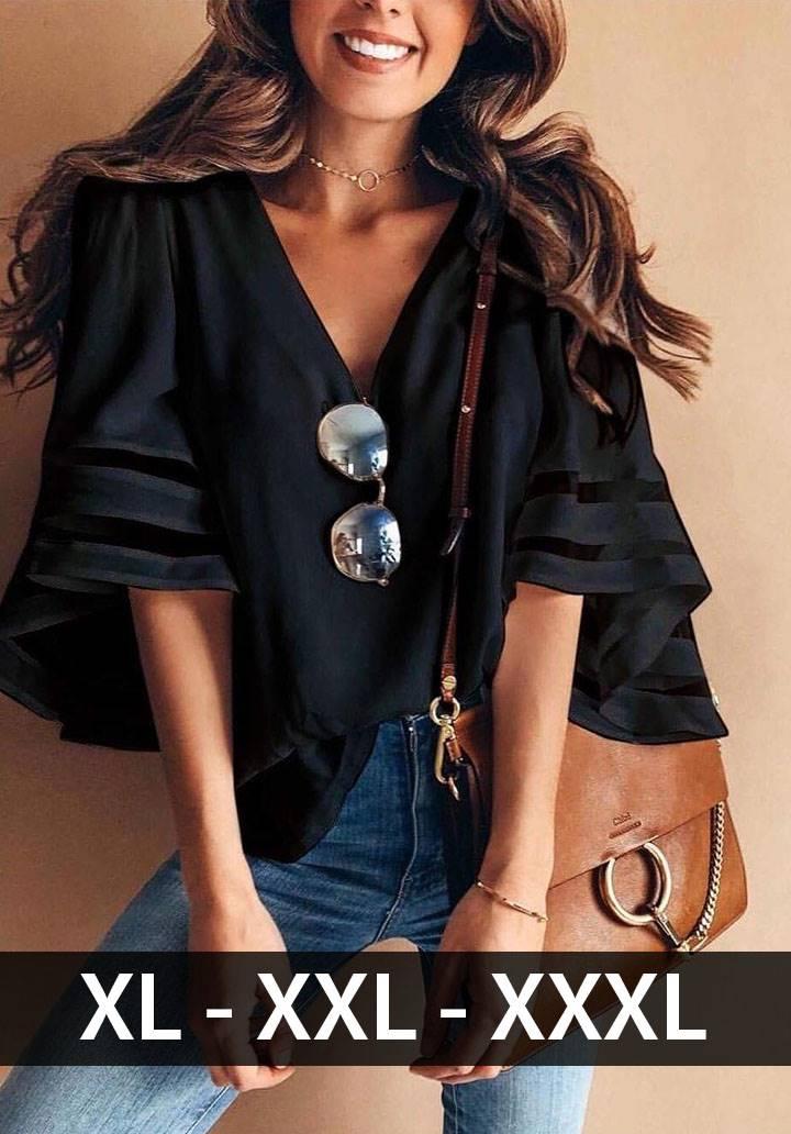 V yaka kol detaylı salaş bluz(siyah)