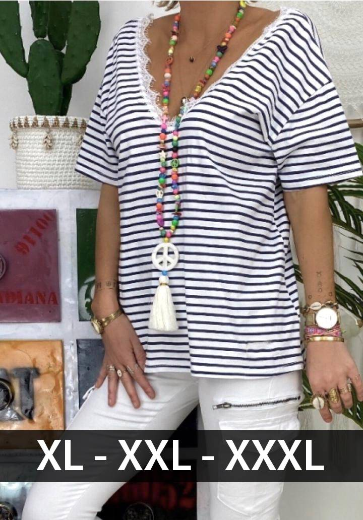 Ön arka V yaka gupur detay çizgili bluz(siyah)