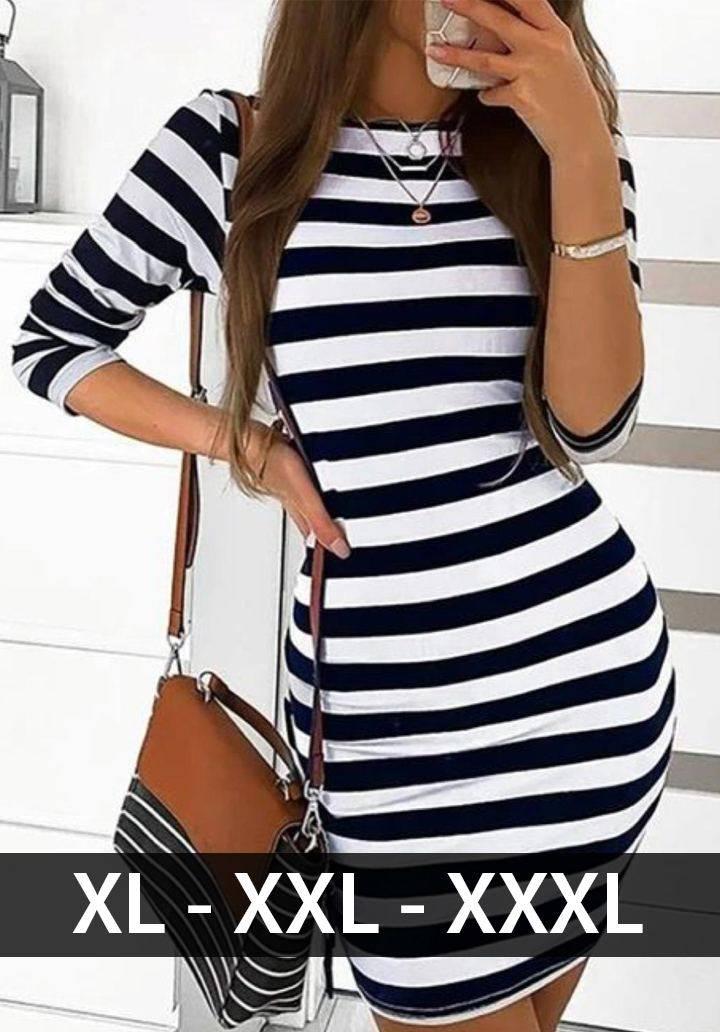 Siyah beyaz çizgili mini basic elbise - 1