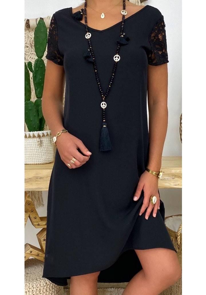 Sırt dekolteli güpür detay tasarım elbise
