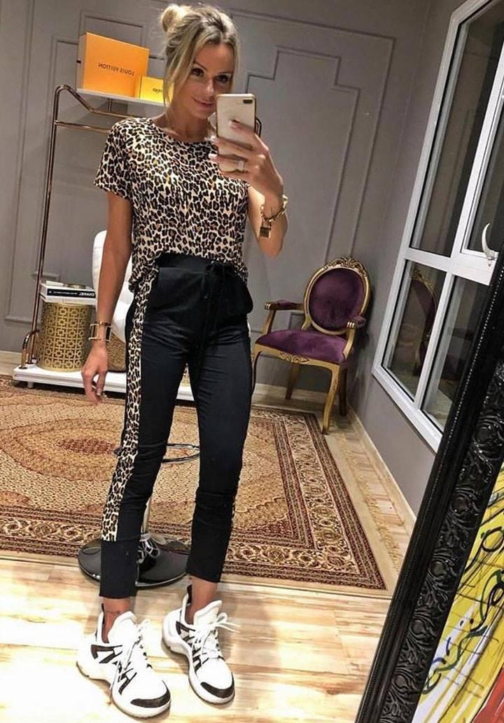 Leopar bluz pantalon ikili takım
