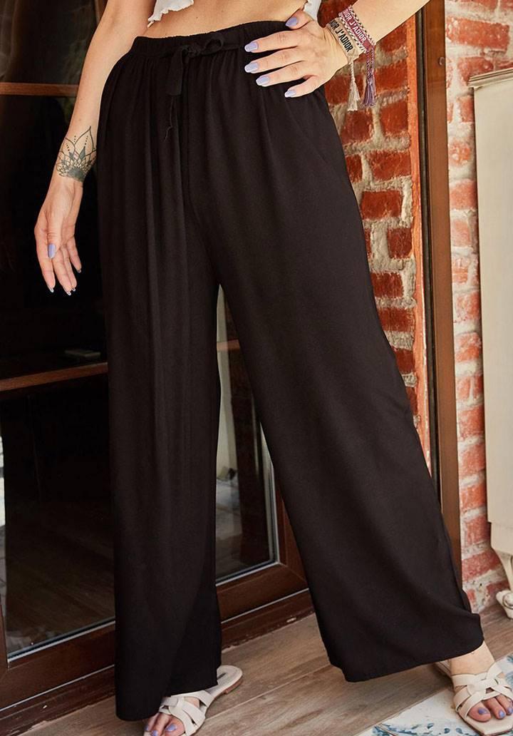 Siyah beli lastikli salaş pantolon