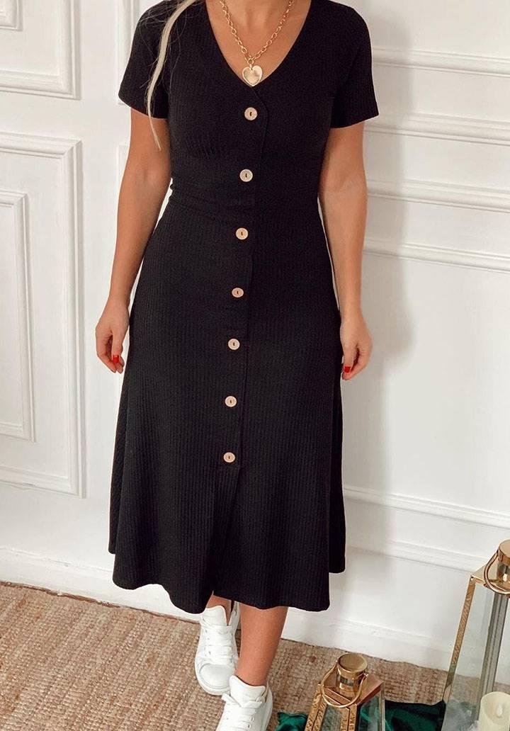 V yaka çan model düğmeli midi boy elbise(siyah)