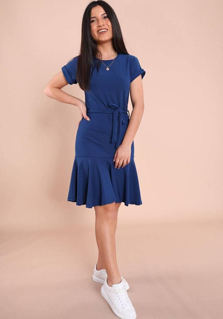 Kuşaklı yeni sezon örme crep elbise(lacivert)