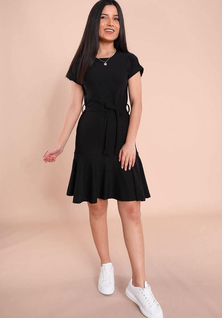 Kuşaklı yeni sezon örme crep elbise(siyah)