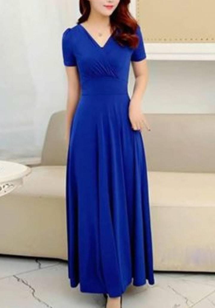 Kruvaze yaka maxı boy elbise(sax)