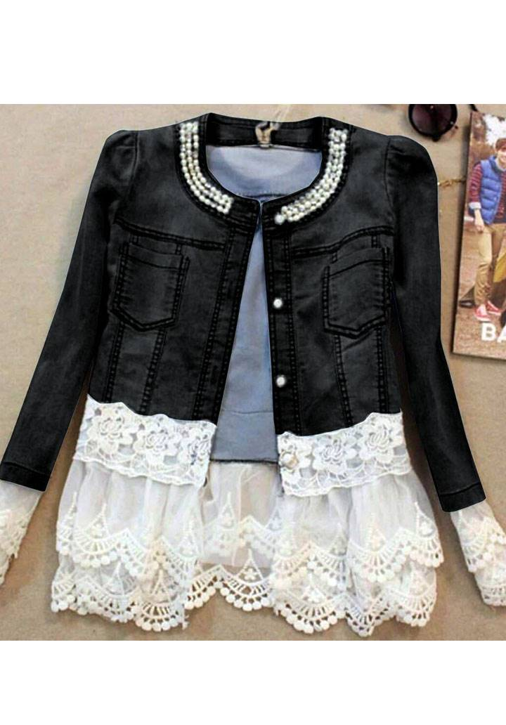 Yakası incili gupur detay jean ceket(siyah)