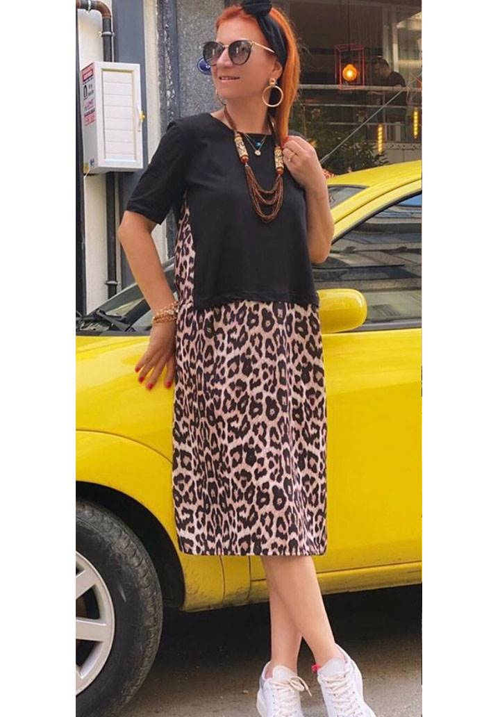 Eteği leopar midi boy tasarım elbise