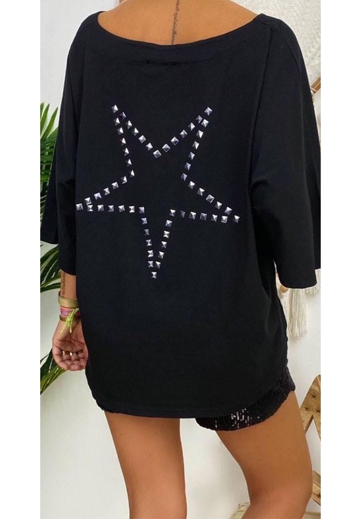 Star salas tasarım bluz(siyah)