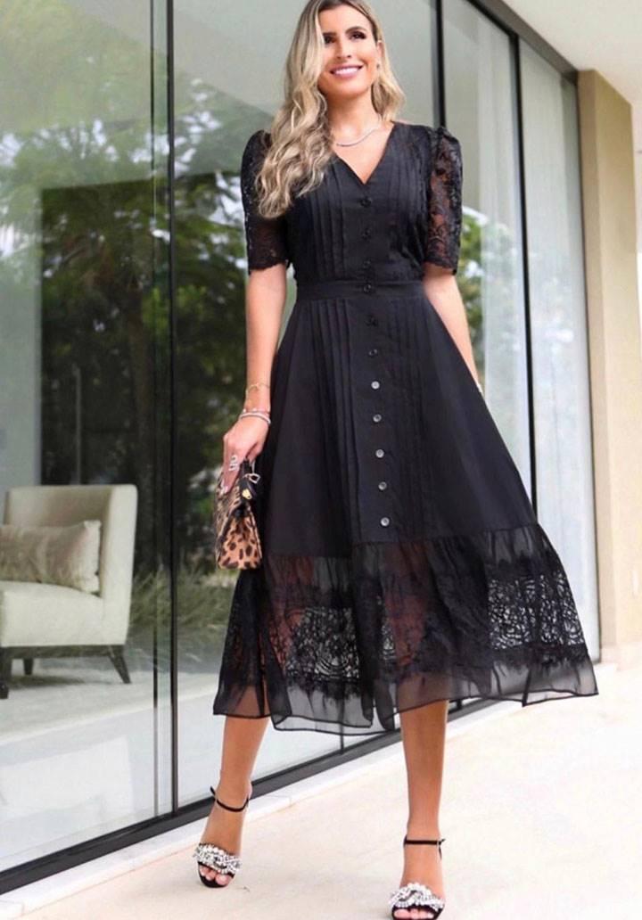 V yaka ithal crep dantel detay elbise
