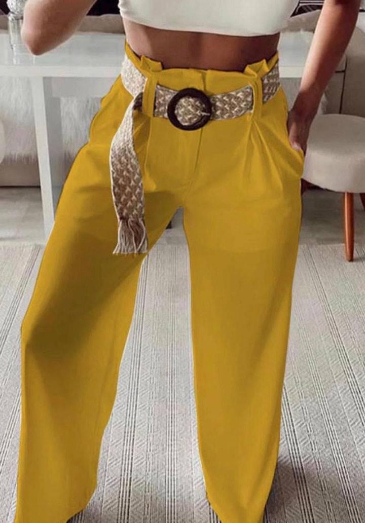 Boru paça yüksek bel kemerli pantalon(hardal)