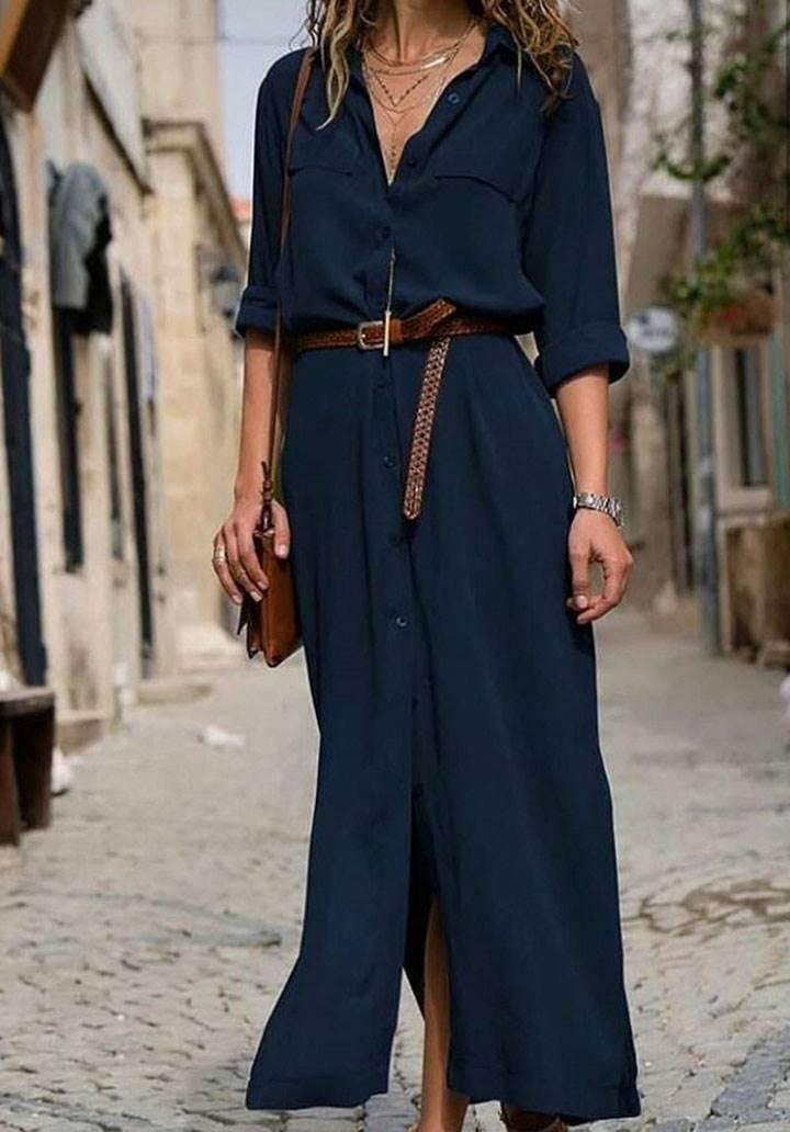 Yanları yırtmaçlı dokuma viscon gömlek elbise(lacivert)