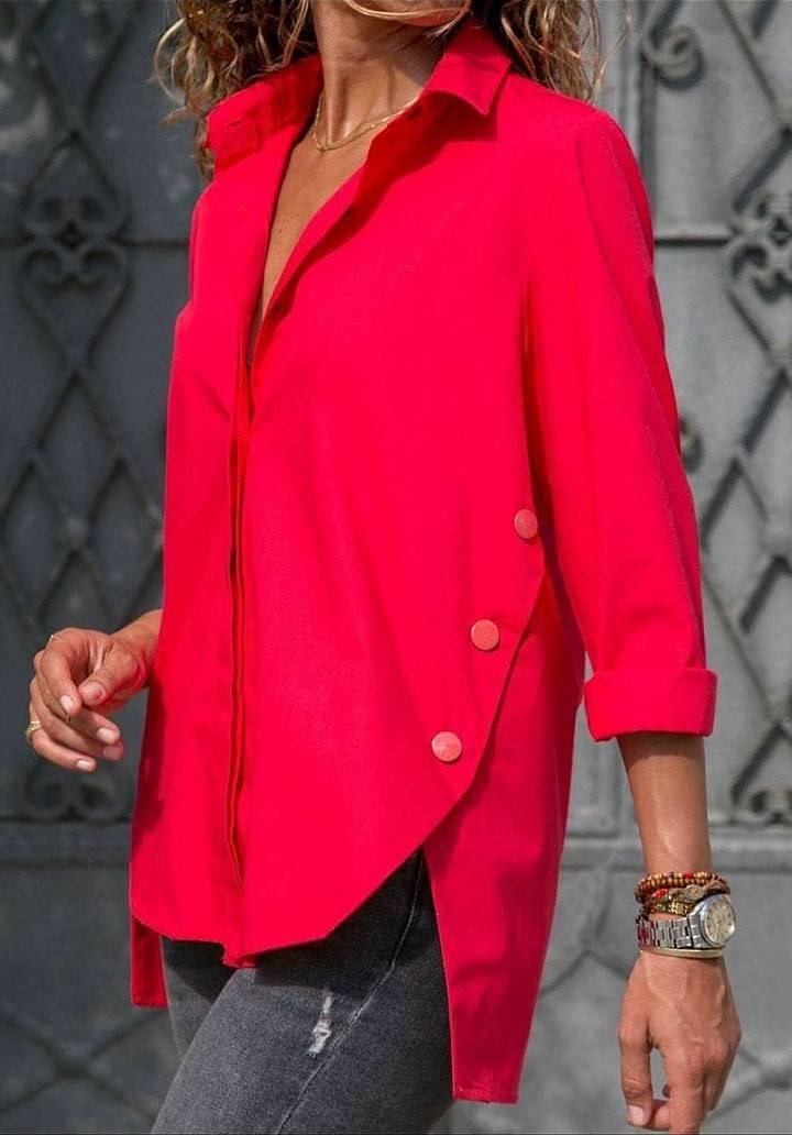 Yanları düğme detay asimettik kesim gömlek(kırmızı)