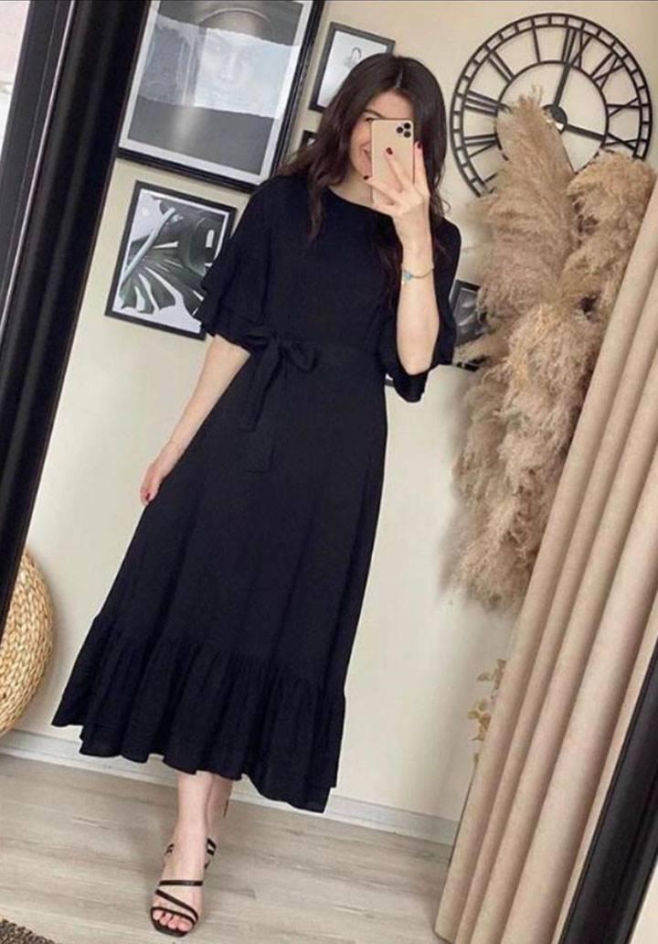 Kolları eteği volanlı kuşaklı elbise(siyah)