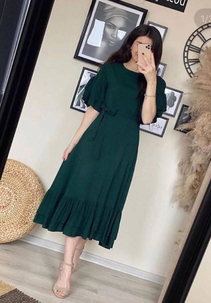 Kolları eteği volanlı kuşaklı elbise(yeşil)