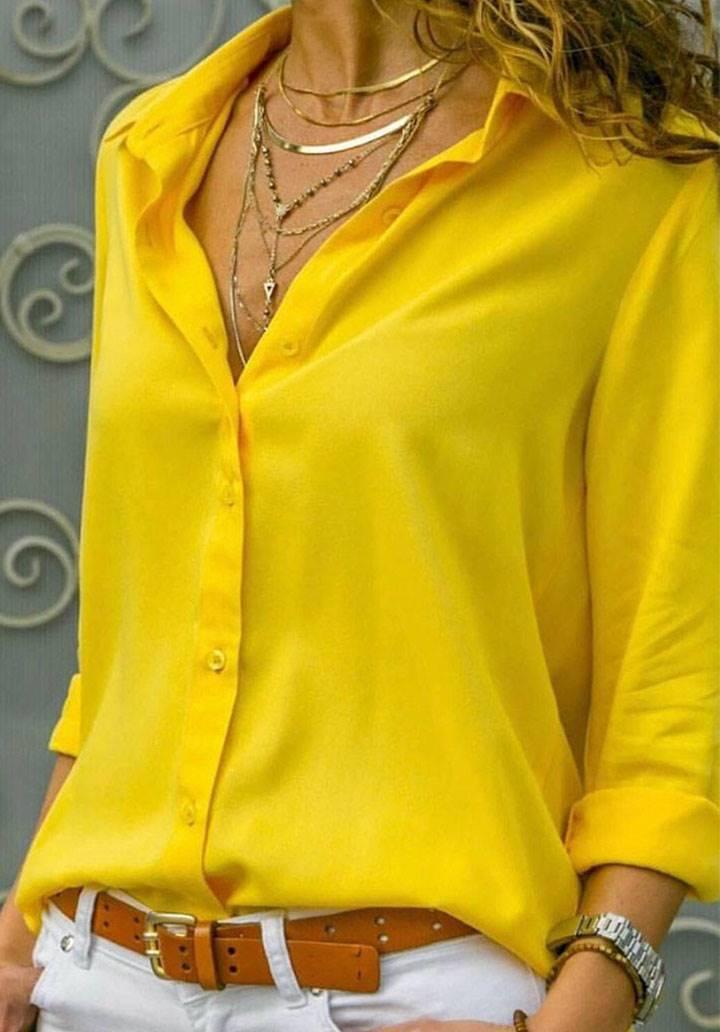 Sarı basic pamuklu kumaş gömlek
