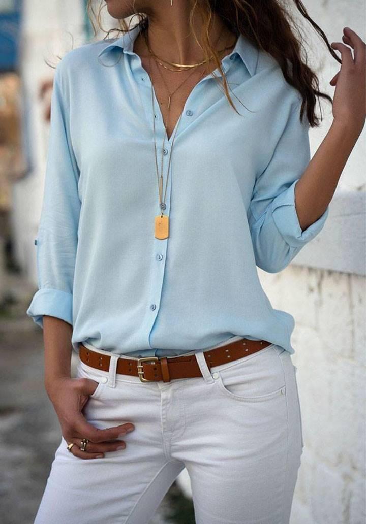 Bebe mavi basic pamuklu kumaş gömlek