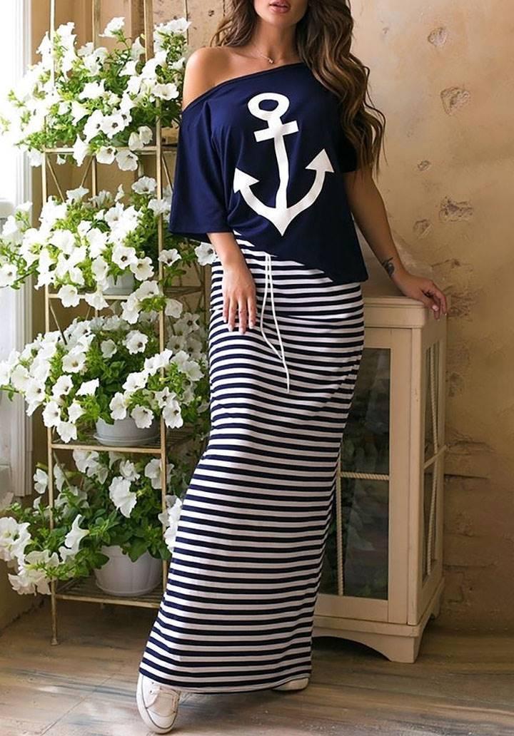 Lacivert çizgili marine elbise