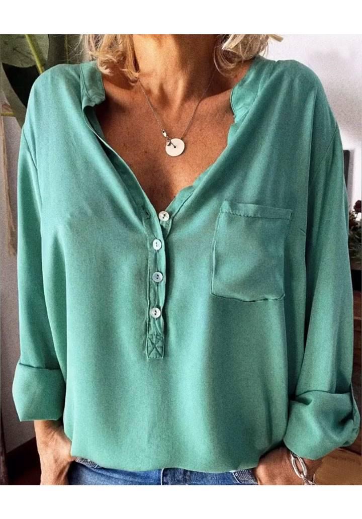 V yaka düğmeli tek cep gömlek(yeşil)