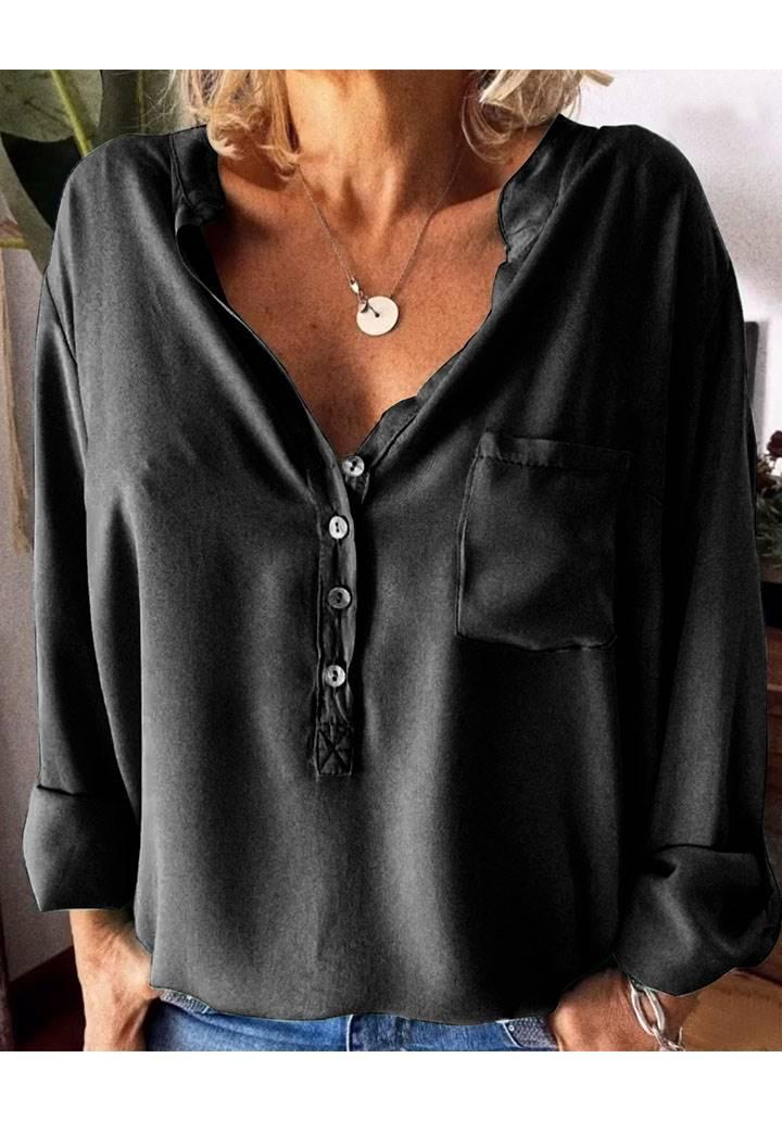 V yaka düğmeli tek cep gömlek (siyah)