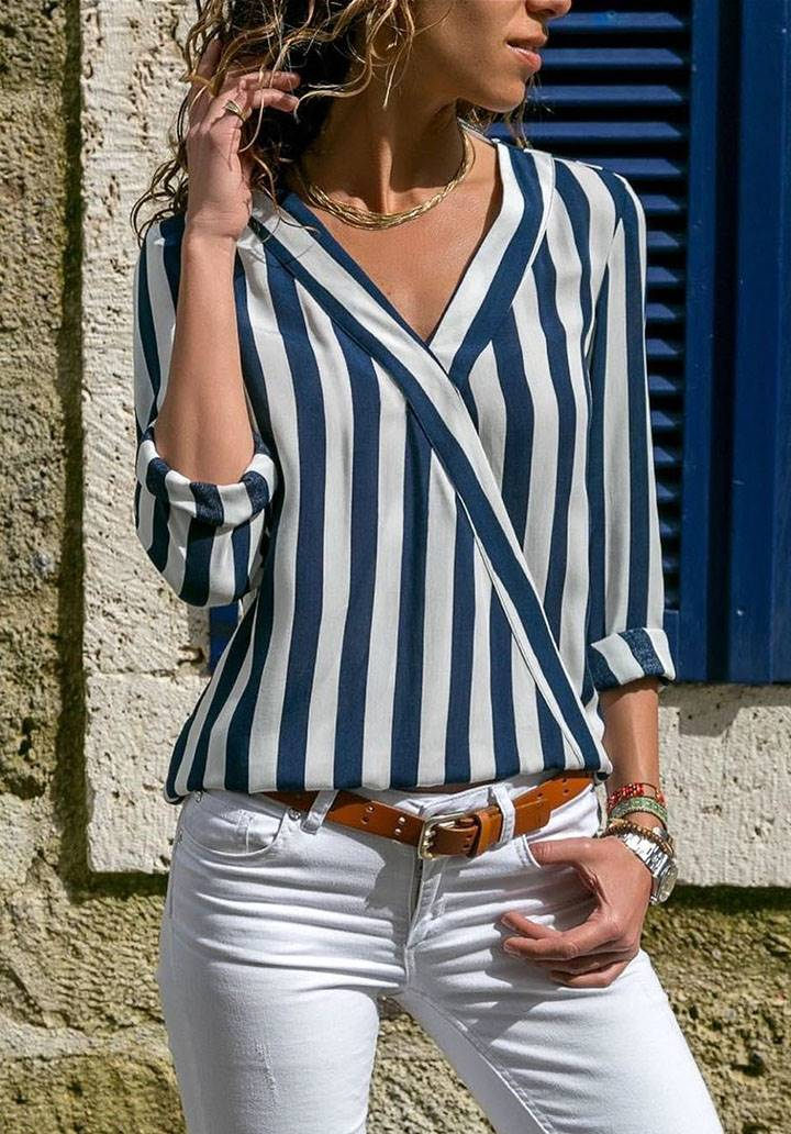 V yaka çizgili asimetrik bluz(lacivert)