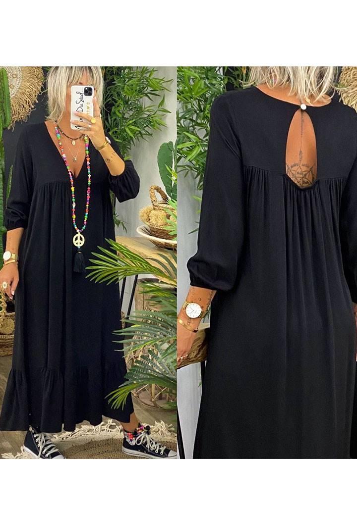Siyah eteği volanlı sırt dekolteli maxi boy elbise