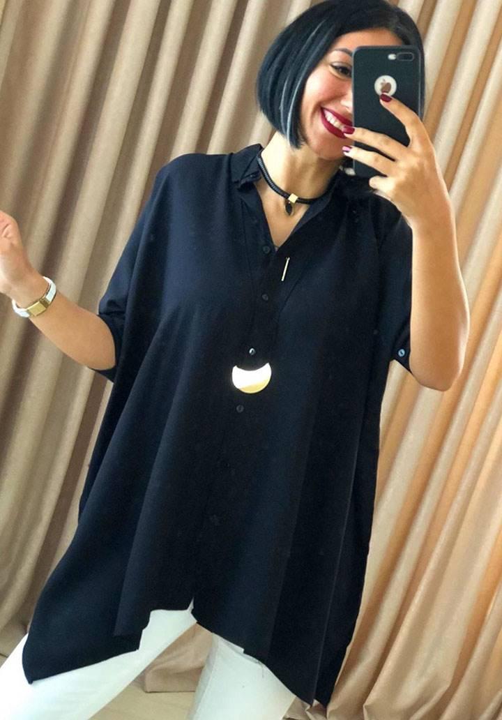 Siyah asimetrik kesim tunik gömlek