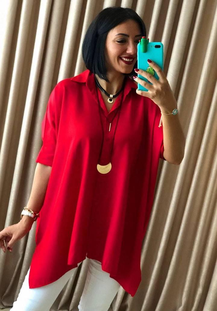 Kırmızı asimetrik kesim tunik gömlek