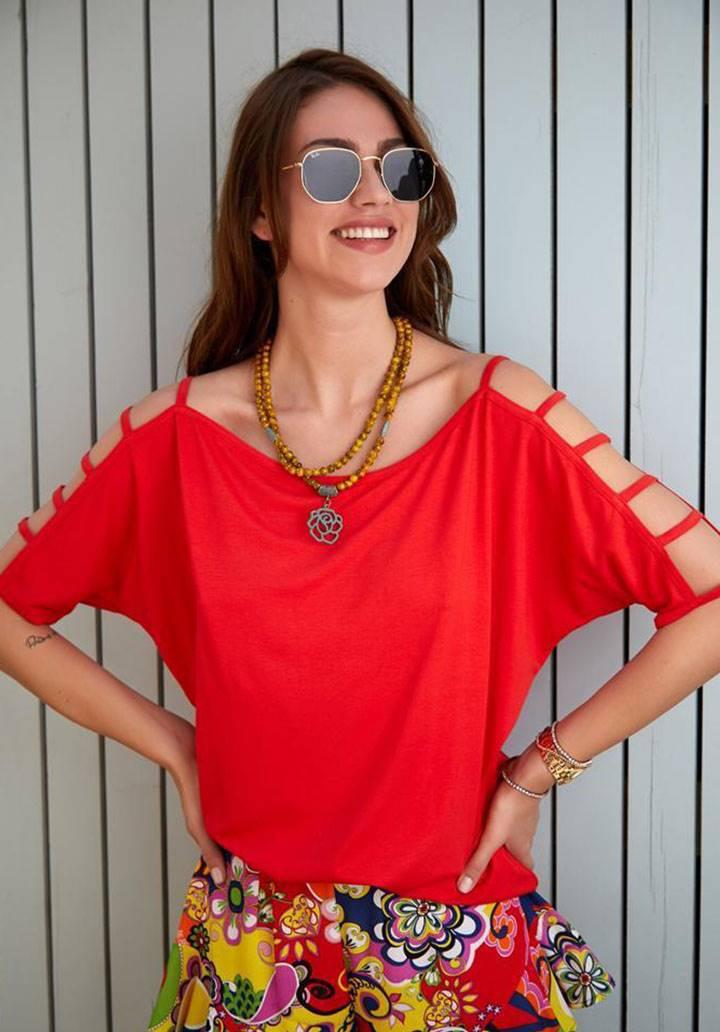 Kol kafesli salaş basic tshirt(kırmızı)