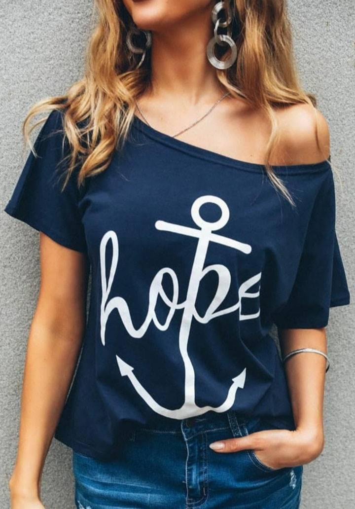 Hope baskı düşük omuz tshirt
