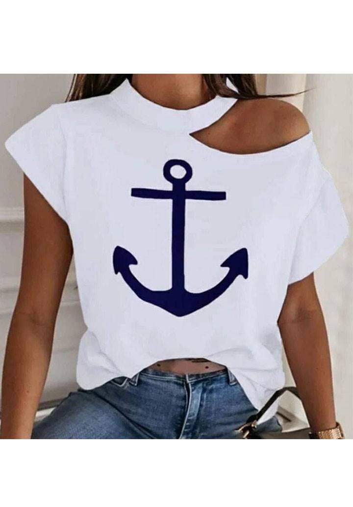 Tek omuz dekolteli marine tshirt(ekru)