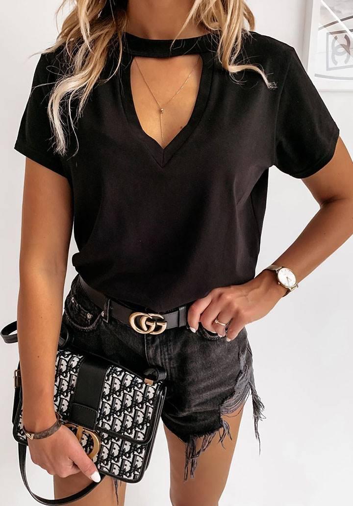 Yaka detay basic tshirt(siyah)